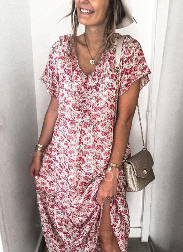 Print/Floral Short Sleeves Shift Tunic Casual Midi Dresses
