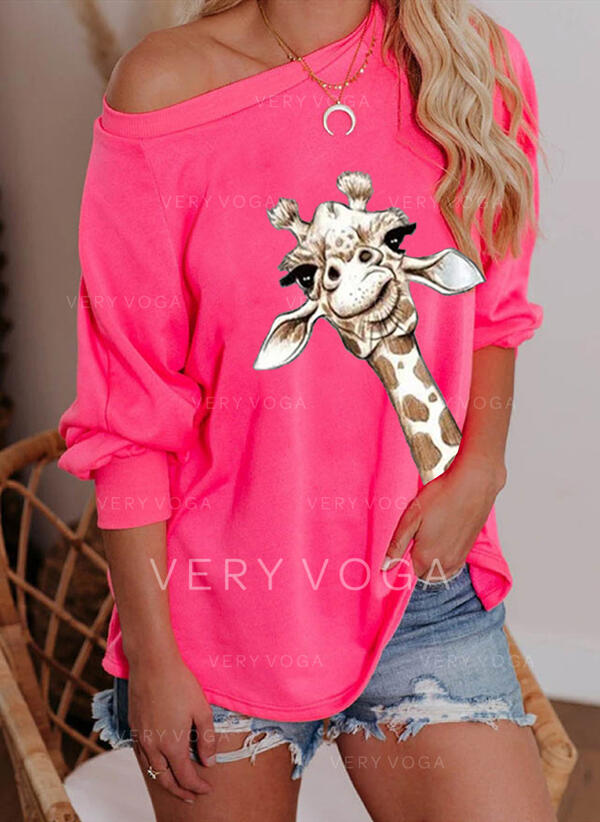 Motif Animal One Shoulder Manches longues Sweat-shirts