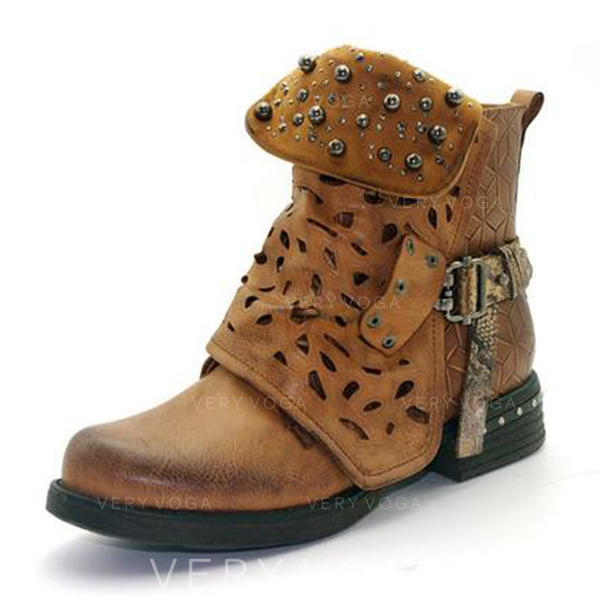Women's PU Low Heel Boots Mid-Calf Boots With Rivet Buckle shoes