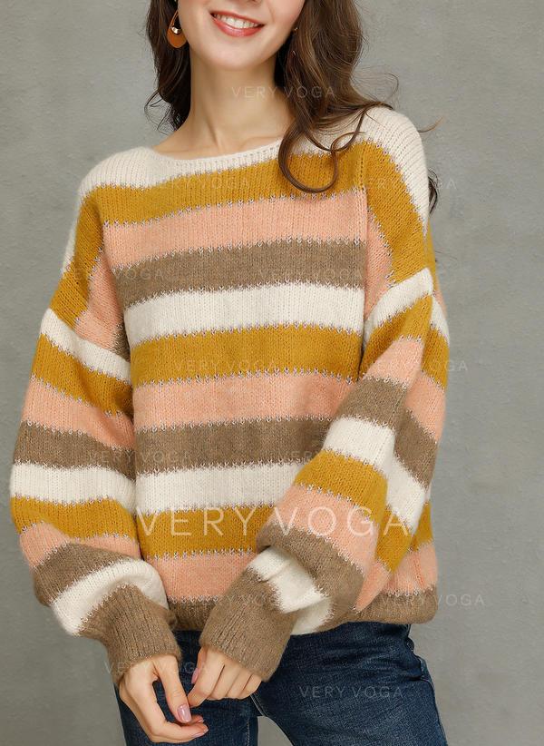 Geblockte Farben Gestreift Zopfmuster Rundhalsausschnitt Pullover