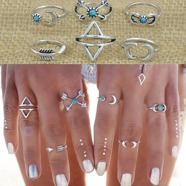 Nice Alloy Ladies' Rings (Set of 6)