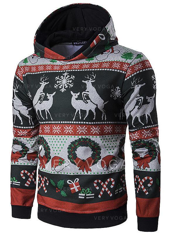 Hommes Coton Mélange de coton Inmprimé Renne Sweat de Noël