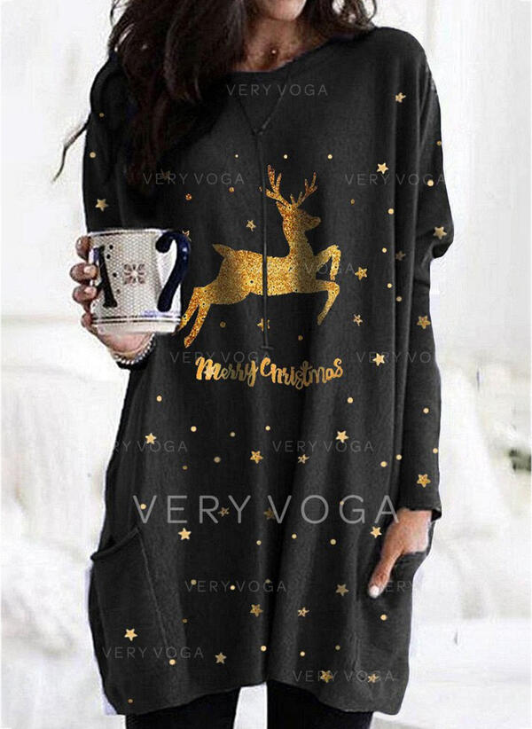 Animal Print Figure Pockets Round Neck Long Sleeves Christmas Sweatshirt