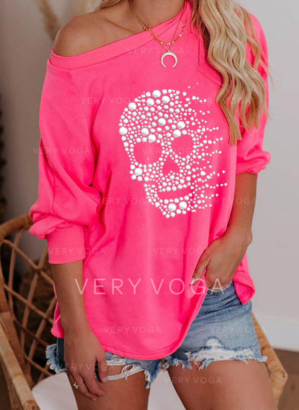 Print One Shoulder Lange Mouwen Sweatshirts