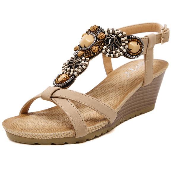 Hedendaags Vrouwen Kunstleer Wedge Heel Sandalen met Kralen schoenen YX-11