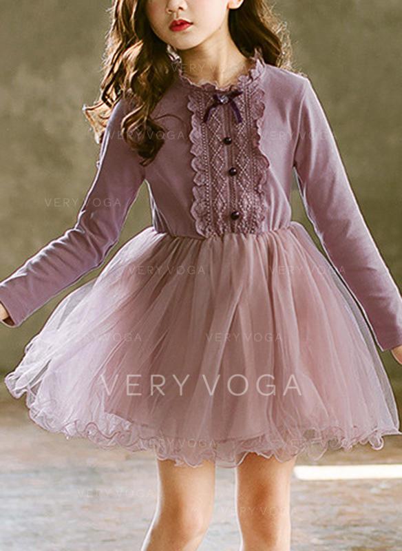 Mädchen Rundhals Festkörper Knöpfe Lässige Kleidung Party Kleid