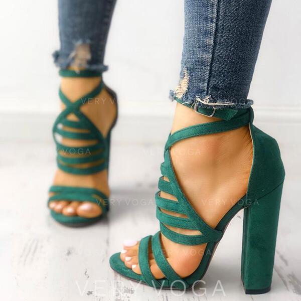 Donna Camoscio Sandalo Stiletto Punta aperta con Fibbia scarpe