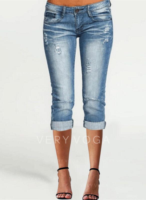 Sólido Capris Casual Tamanho positivo Bolso shirred rasgado Button Calças Jeans