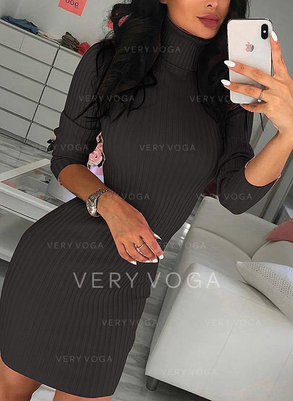 Pevný Dlouhé rukávy Přiléhavé Nad kolena Neformální Šaty