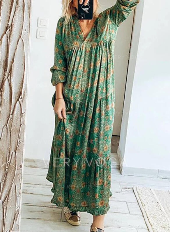 Print/Floral Long Sleeves Shift Casual/Vacation Maxi Dresses