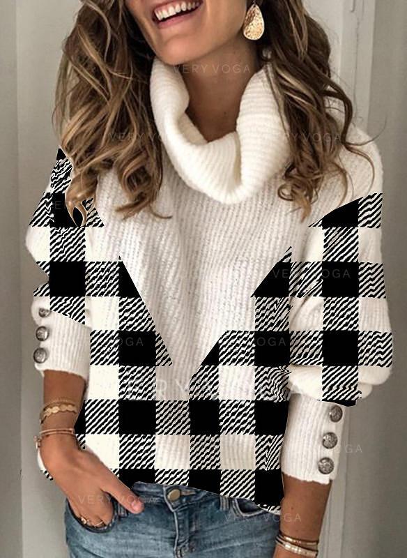 Color Block Grid Turtleneck Casual Sweaters