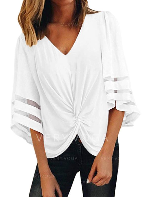 Sólido Cuello en V Mangas 3/4 Casual camiseta