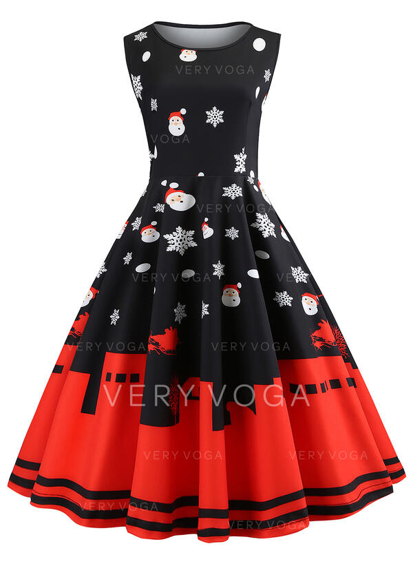 Print Sleeveless A-line Knee Length Vintage/Christmas/Party Dresses