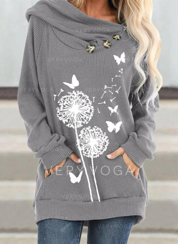 Animal Print Dandelion Long Sleeves Hoodie