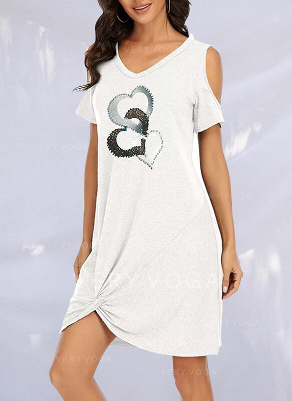 Print/Heart Short Sleeves Cold Shoulder Sleeve Shift Above Knee Casual Tunic Dresses