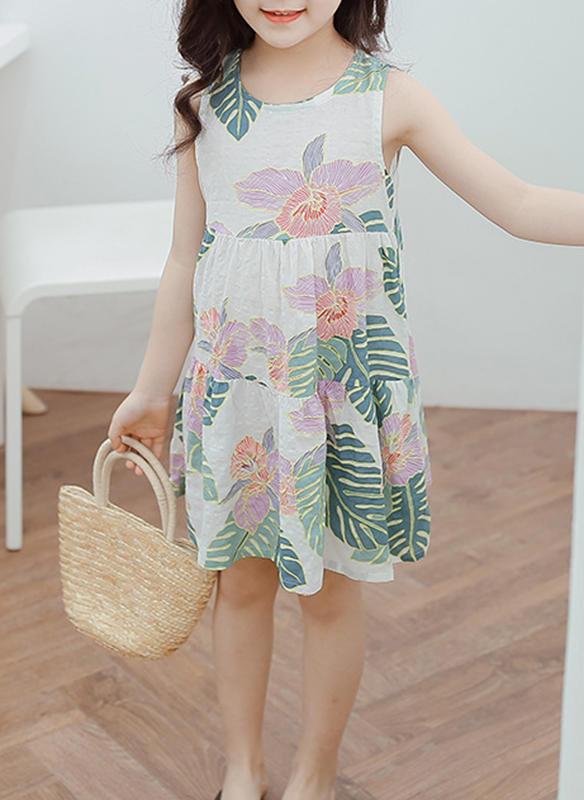 579277466be Κορίτσια Στρογγυλός λαιμός Ανθινος Ανέμελος Χαριτωμένος Φόρεμα ...