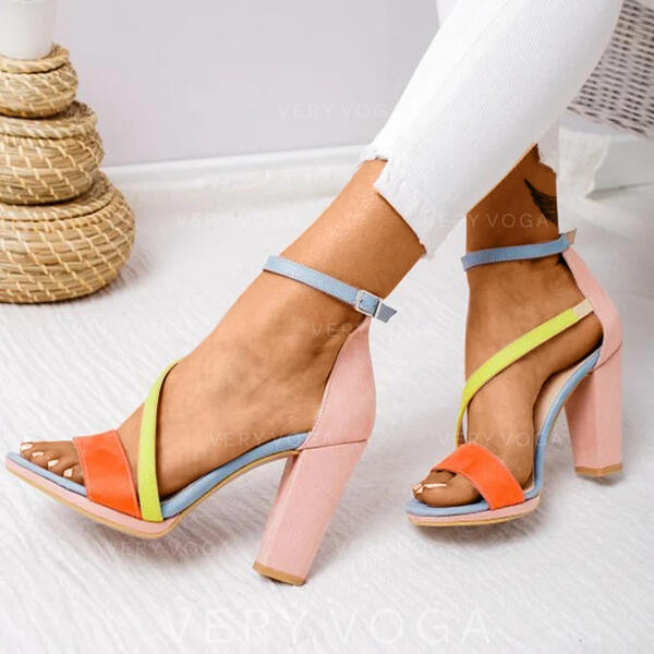 Women's PU Chunky Heel Sandals Peep Toe With Buckle shoes