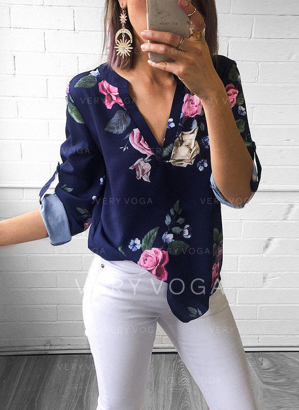 Print V Neck 3/4 Sleeves Casual Shirt Blouses