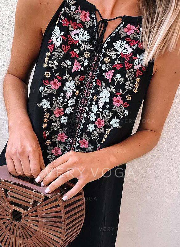 Impresión/Floral Sin mangas Tendencia Sobre la Rodilla Casual/Bohemio/Vacaciones Vestidos