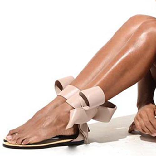 [zł 194.90] Dla kobiet PU Płaski Obcas Sandały Plaskie Otwarty Nosek Buta Z Kokarda obuwie VeryVoga