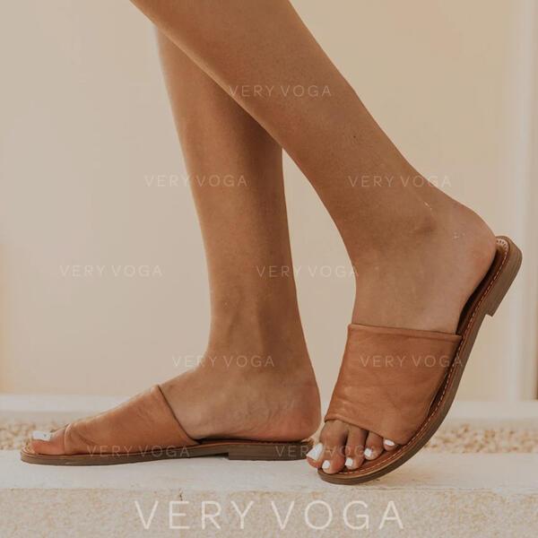 PU Flat Heel Sandals Peep Toe Slippers