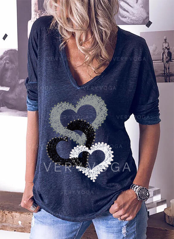 Drucken V-Ausschnitt Lange Ärmel Freizeit T-shirts