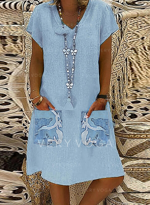 Print/Camouflage Short Sleeves Shift Knee Length Casual/Vacation Tunic Dresses