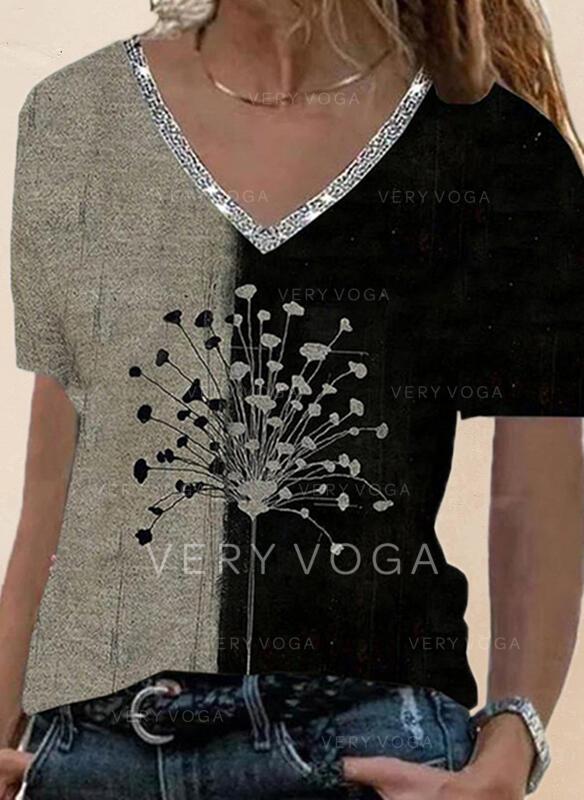 Color Block Løvetann Trykk paljetter V-hals Kortermer T-skjorter