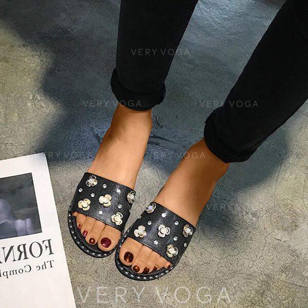 Femmes PVC Talon plat Chaussons avec Strass chaussures