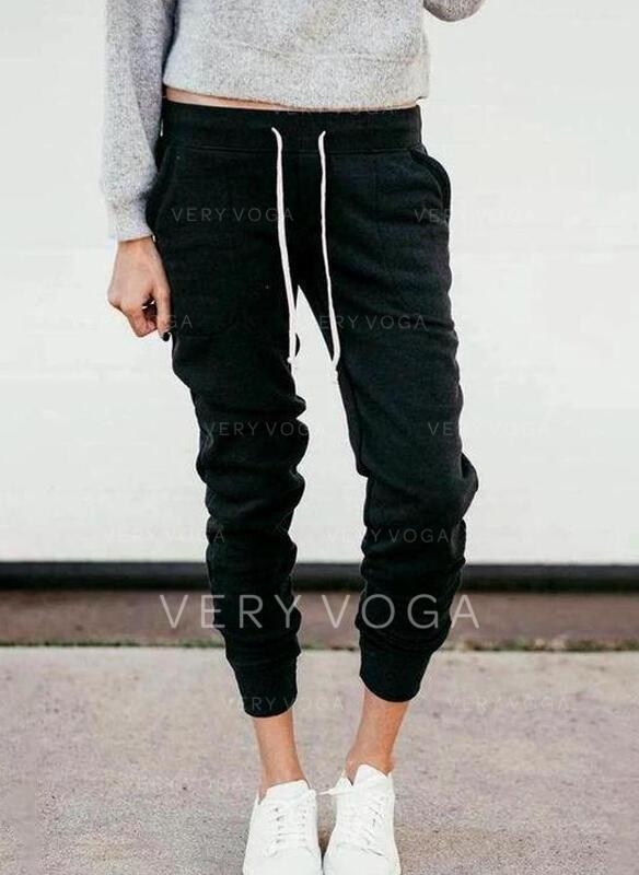 Shirred Drawstring Long Casual Sporty Plain Pants