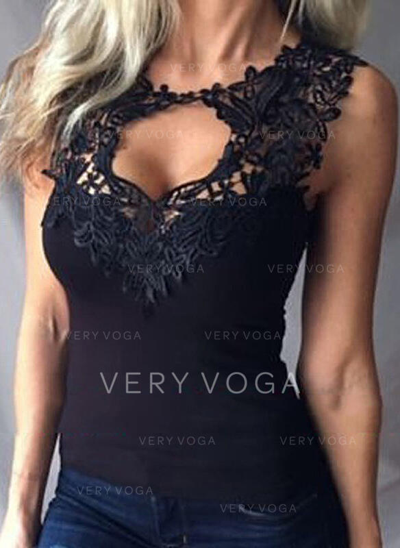 Solid Lace Round Neck Sleeveless Casual Elegant Sexy Tank Tops