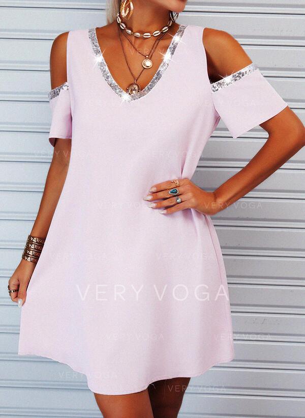 Pailletten/Einfarbig Kurze Ärmel Shift Über dem Knie Freizeit Tunika Kleider