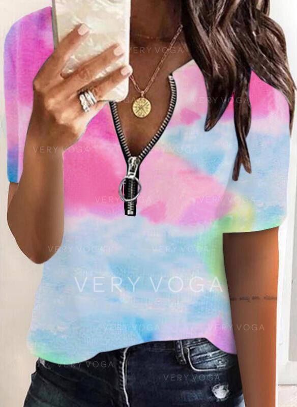 Tie Dye V-Neck Short Sleeves Casual Blouses