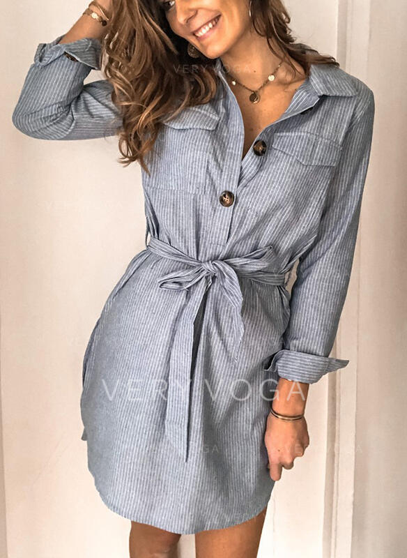 Striped Long Sleeves Sheath Above Knee Casual/Elegant Dresses