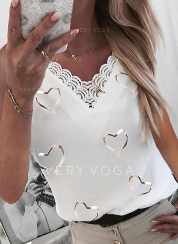 Serce Koronka Nadruk Dekolt w kształcie litery V Bez Rękawów Koszulki bez rękawów