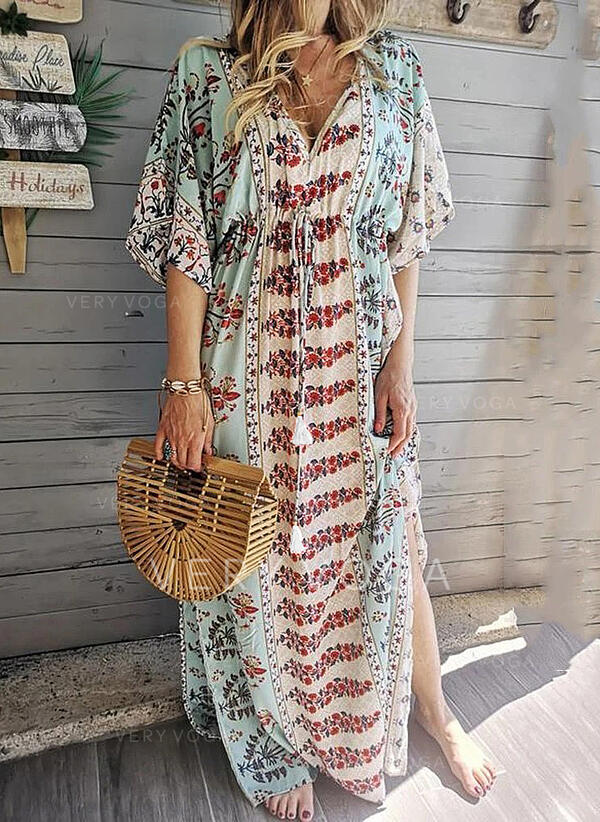 Print/Floral 1/2 Sleeves/Batwing Sleeves Shift Casual/Vacation Maxi Dresses