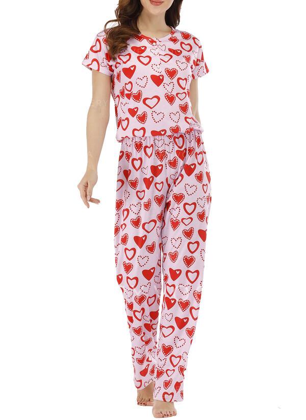 Gola Redonda Manga Curta Impressão Casual Conjuntos de calças e tops