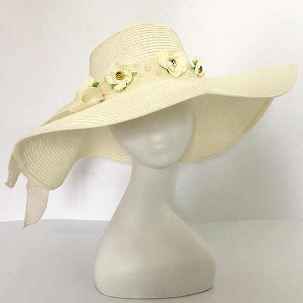 Ladies' Beautiful Rattan Straw With Bowknot Straw Hats