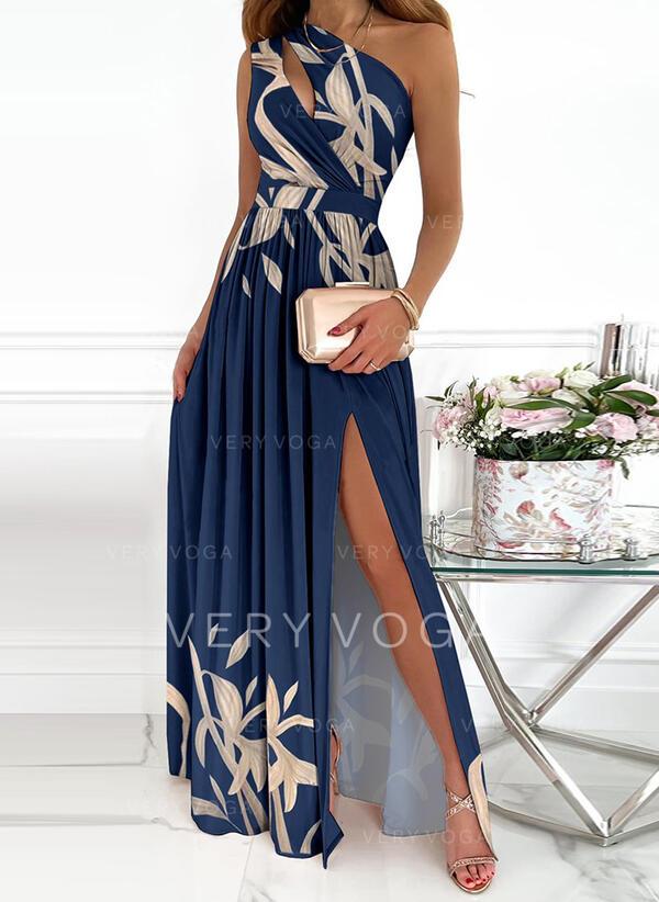 Imprimeu Kolsuz Bir Çizgi Patenci Parti/Zarif Maxi Elbiseler