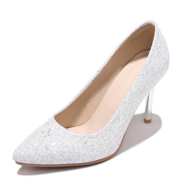 Vrouwen Sprankelende Glitter Stiletto Heel Pumps Closed Toe met Lovertje schoenen
