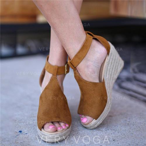 De mujer Tejido Tipo de tacón Sandalias Cuñas con Hebilla zapatos