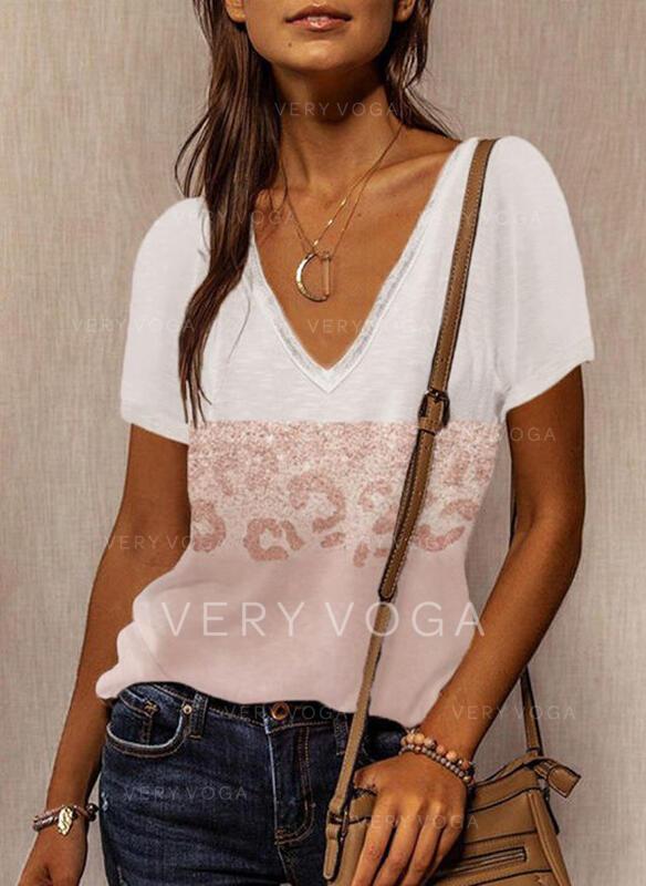 Blok Koloru lampart Dekolt w kształcie litery V Krótkie rękawy T-shirty