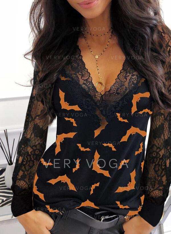 Stampa Pizzo Scollatura a V Maniche lunghe Casuale Halloween Camicie
