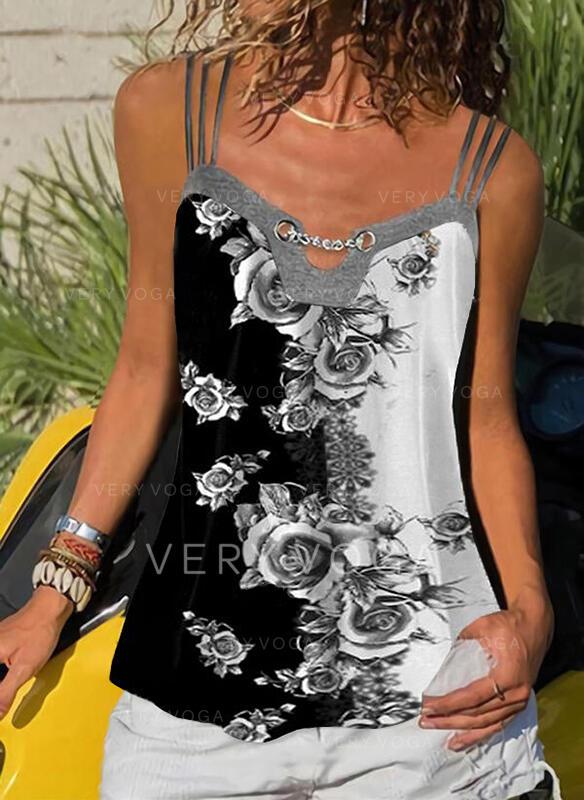 Floral Print Spaghetti Straps Sleeveless Tank Tops