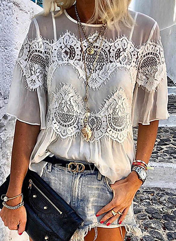 Solid Lace Round Neck 1/2 Sleeves Casual Blouses