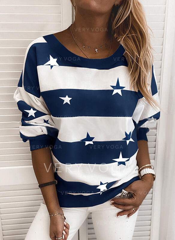 Print Color Block Striped Round Neck Long Sleeves Casual T-shirts (1003306423)
