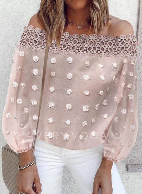 Solid Blonder Off-shoulder Lange ærmer Elegant Skjorter