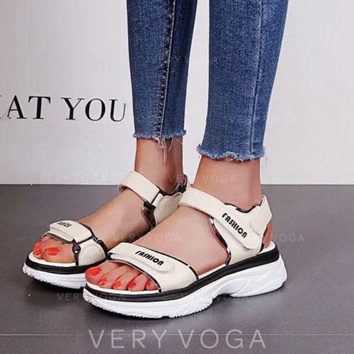 Women's PU Low Heel Sandals Peep Toe With Velcro shoes