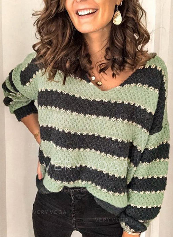 Color Block Striped Chunky knit V-Neck Sweaters