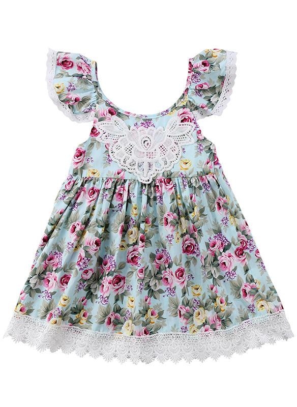 60a6a313dbf Κορίτσια Στρογγυλός λαιμός Ανθινος Δαντέλα Ανέμελος Χαριτωμένος Φόρεμα
